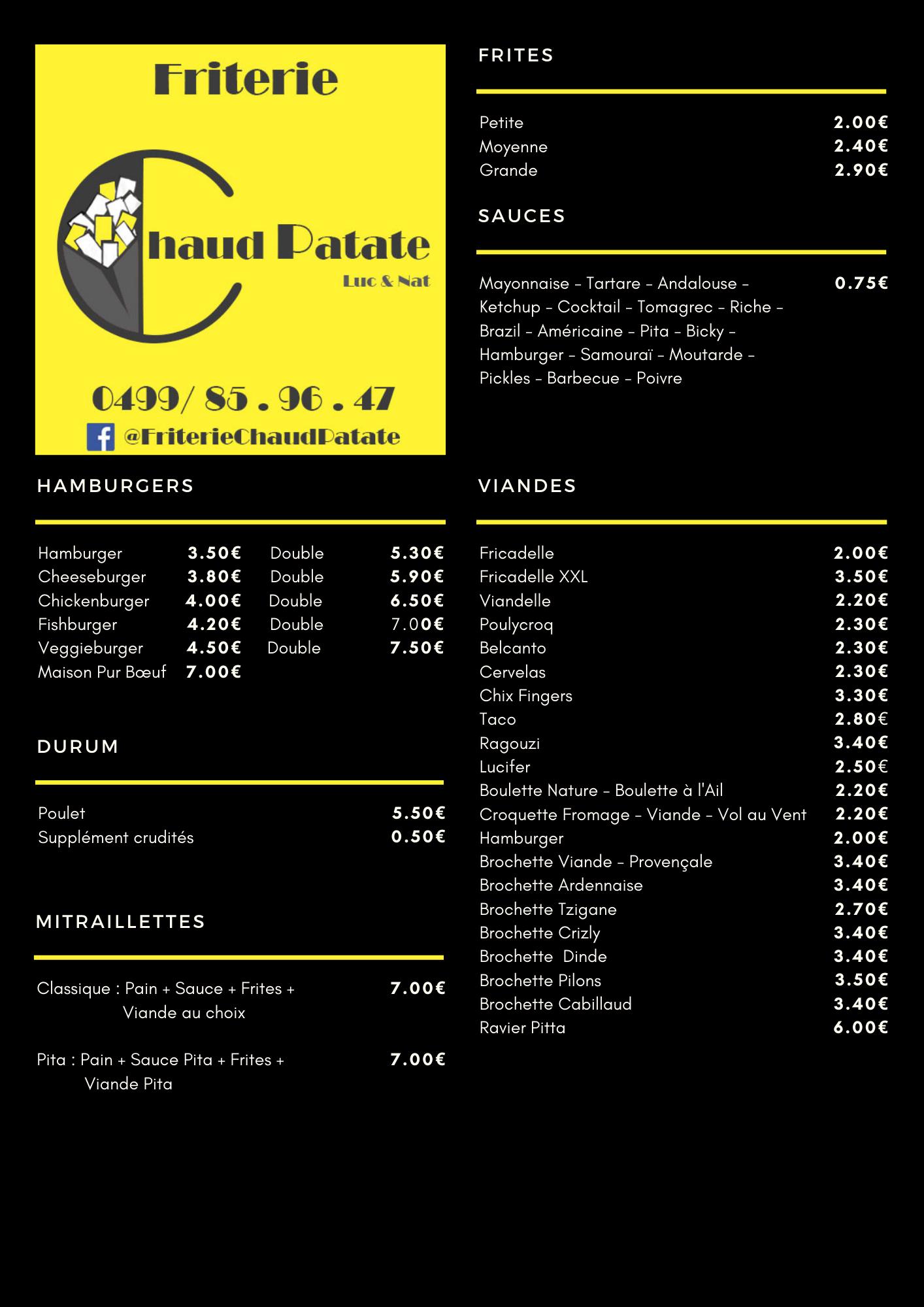 Chaud Patate - Carte 1