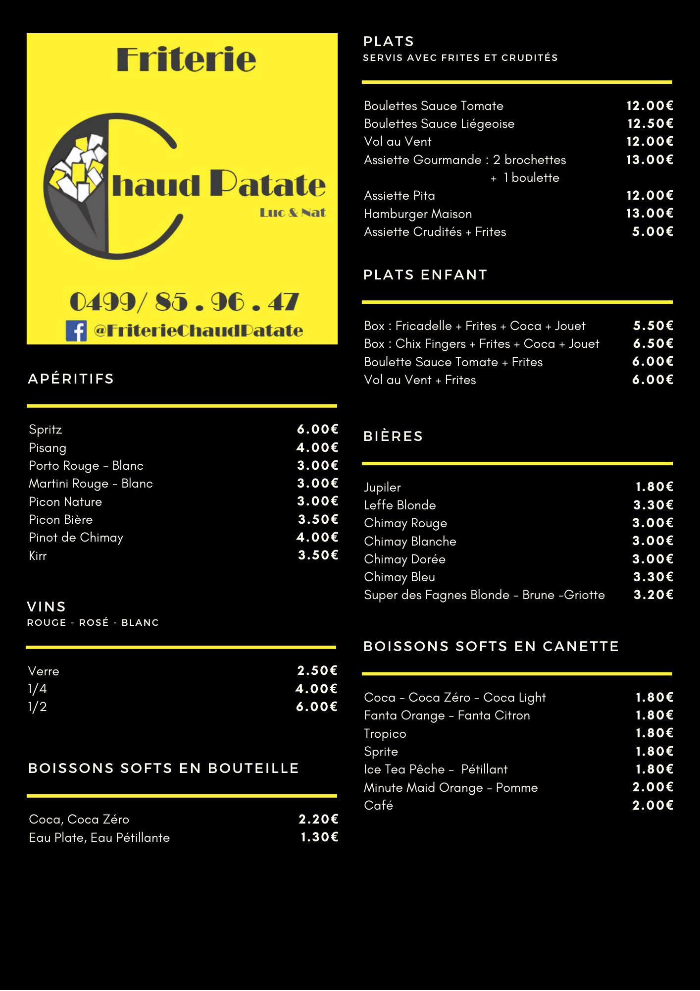 Chaud Patate - Carte